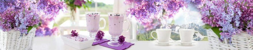 Изображение для стеклянного кухонного фартука, скинали: посуда, корзина, кружка, сирень, skin484