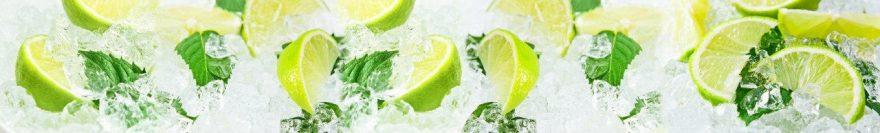 Изображение для стеклянного кухонного фартука, скинали: фрукты, лед, лайм, skin487