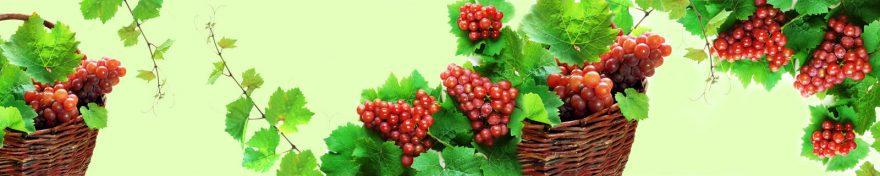 Изображение для стеклянного кухонного фартука, скинали: корзина, фрукты, виноград, skin523