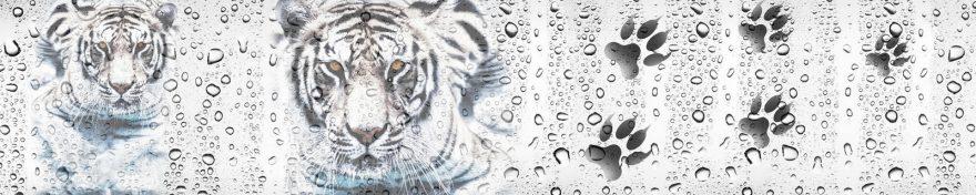 Изображение для стеклянного кухонного фартука, скинали: вода, животные, тигры, капли, skin82