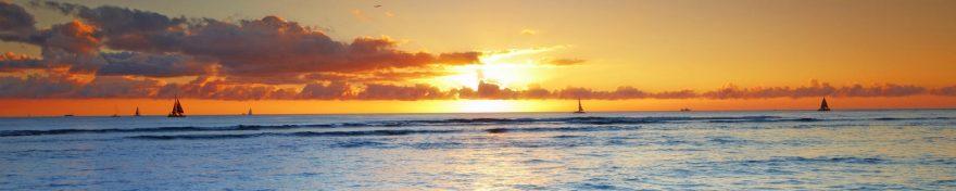 Изображение для стеклянного кухонного фартука, скинали: закат, море, облака, skin99