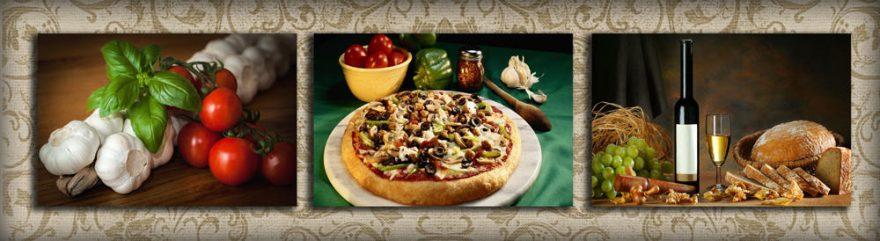Изображение для стеклянного кухонного фартука, скинали: коллаж, вино, бутылка, еда, овощи, skinap102