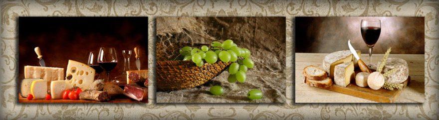 Изображение для стеклянного кухонного фартука, скинали: коллаж, вино, виноград, бокал, сыр, еда, skinap103