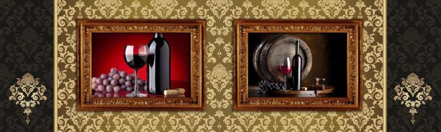 Изображение для стеклянного кухонного фартука, скинали: коллаж, вино, бочка, виноград, бутылка, бокал, skinap104