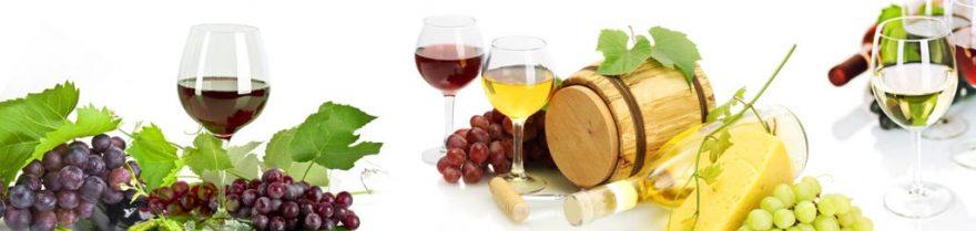 Изображение для стеклянного кухонного фартука, скинали: вино, бочка, виноград, бокал, skinap109