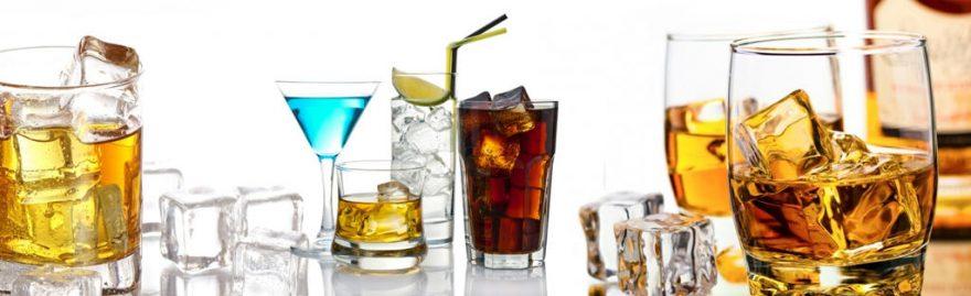 Изображение для стеклянного кухонного фартука, скинали: напитки, лед, стаканы, skinap110