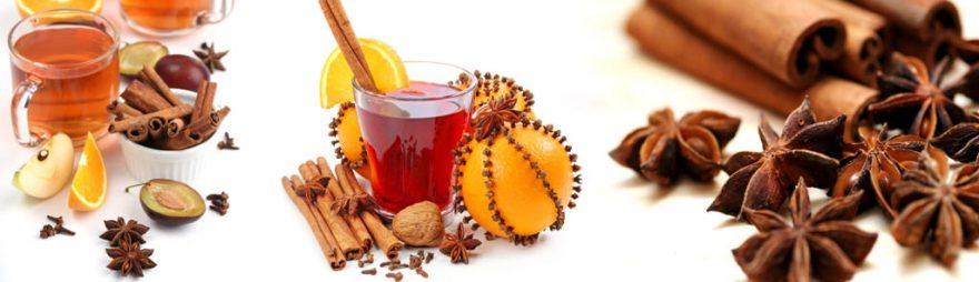 Изображение для стеклянного кухонного фартука, скинали: специи, фрукты, напитки, стаканы, skinap111