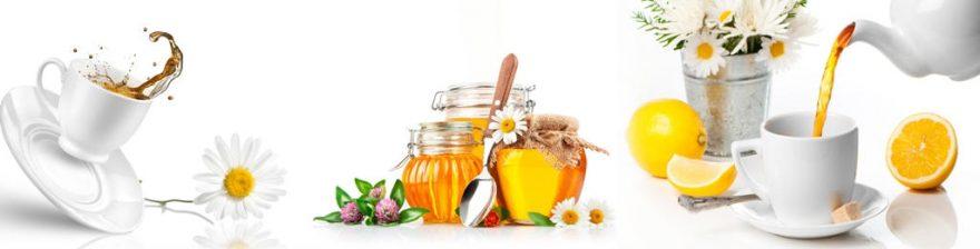 Изображение для стеклянного кухонного фартука, скинали: цветы, посуда, чай, кружка, мед, skinap112