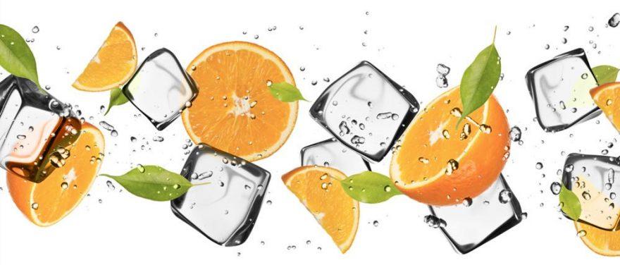 Изображение для стеклянного кухонного фартука, скинали: фрукты, апельсины, лед, skinap117
