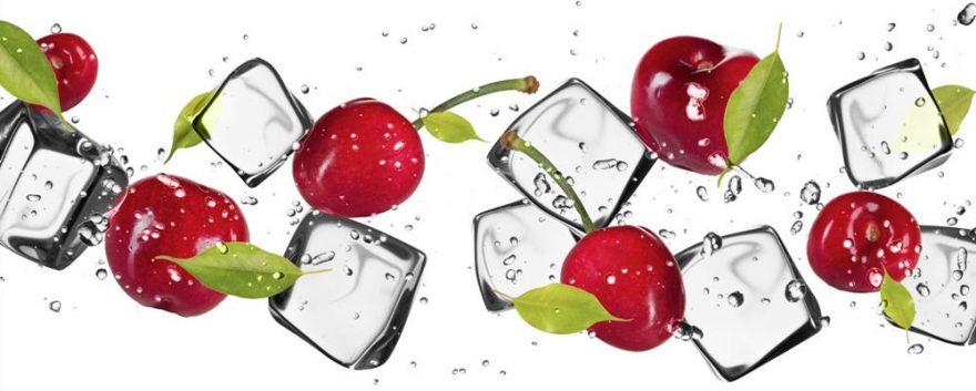 Изображение для стеклянного кухонного фартука, скинали: ягоды, вишня, лед, skinap118