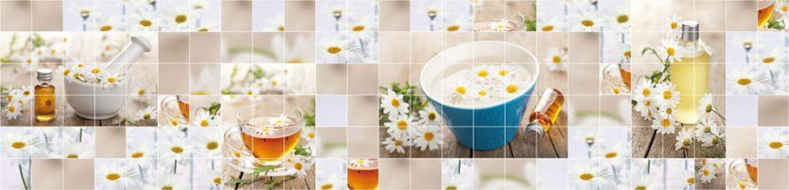 Изображение для стеклянного кухонного фартука, скинали: цветы, посуда, чай, коллаж, ромашки, кружка, skinap128