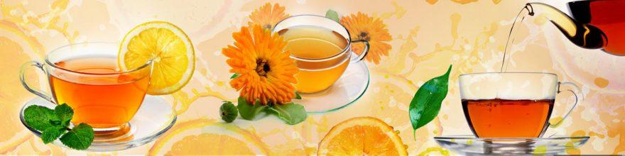 Изображение для стеклянного кухонного фартука, скинали: цветы, посуда, чай, апельсины, кружка, skinap132