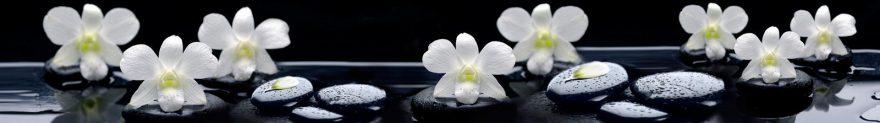 Изображение для стеклянного кухонного фартука, скинали: цветы, орхидеи, камни, skinap136