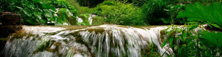 Изображение для стеклянного кухонного фартука, скинали: природа, трава, водопад, skinap139