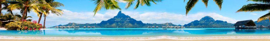 Изображение для стеклянного кухонного фартука, скинали: море, горы, пальмы, пляж, skinap142