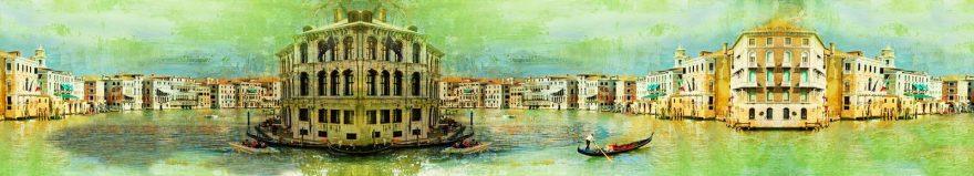 Изображение для стеклянного кухонного фартука, скинали: город, архитектура, лодки, италия, skinap154