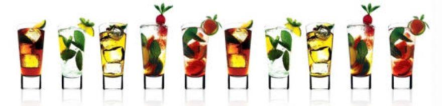 Изображение для стеклянного кухонного фартука, скинали: фрукты, напитки, ягоды, лед, стаканы, skinap25