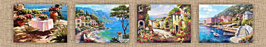 Изображение для стеклянного кухонного фартука, скинали: коллаж, море, город, архитектура, италия, skinap74