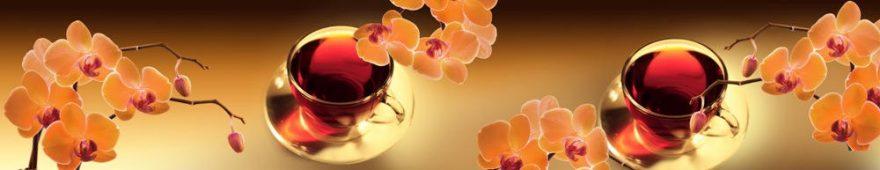 Изображение для стеклянного кухонного фартука, скинали: цветы, орхидеи, чай, кружка, skinap75