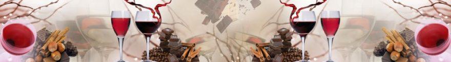 Изображение для стеклянного кухонного фартука, скинали: коллаж, вино, бокал, шоколад, орехи, skinap76