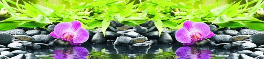 Изображение для стеклянного кухонного фартука, скинали: цветы, бамбук, орхидеи, камни, skinap77