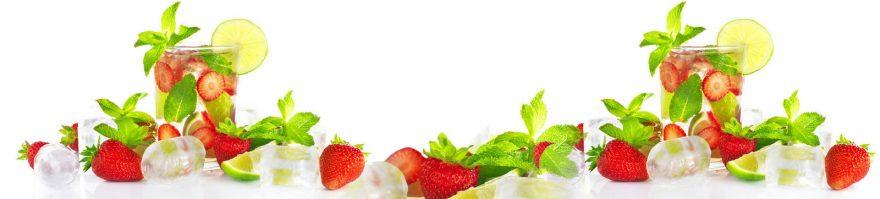Изображение для стеклянного кухонного фартука, скинали: ягоды, клубника, лед, стаканы, мята, skinap84