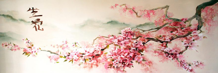 Изображение для стеклянного кухонного фартука, скинали: цветы, ветки, сакура, skinap86