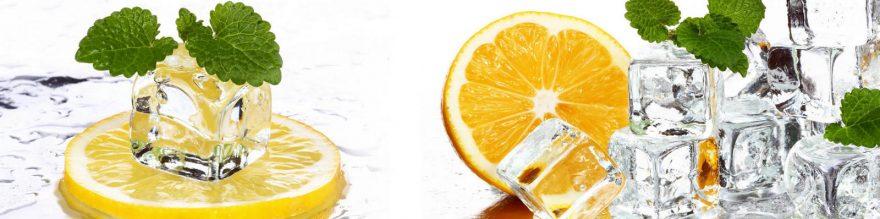Изображение для стеклянного кухонного фартука, скинали: фрукты, апельсины, лед, мята, skinap91