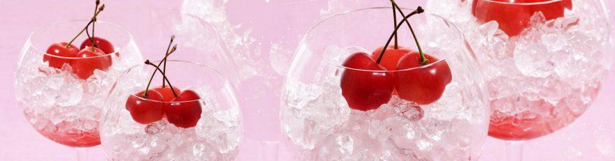 Изображение для стеклянного кухонного фартука, скинали: ягоды, вишня, лед, бокал, skinap92
