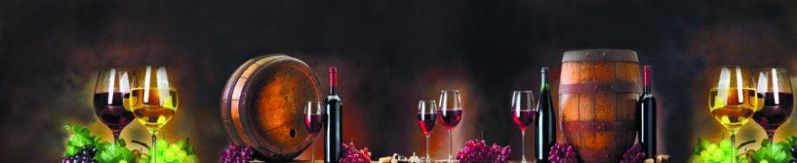 Изображение для стеклянного кухонного фартука, скинали: вино, бочка, виноград, бутылка, бокал, skinap99
