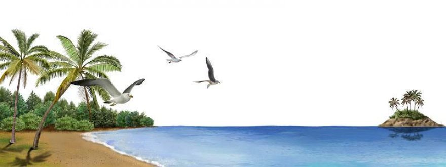 Изображение для стеклянного кухонного фартука, скинали: море, остров, пальмы, птицы, skinsty0