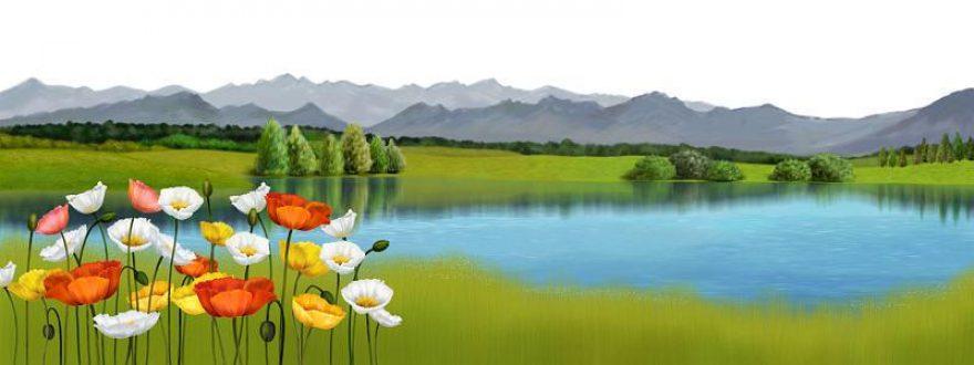 Изображение для стеклянного кухонного фартука, скинали: цветы, природа, горы, озеро, skinsty10