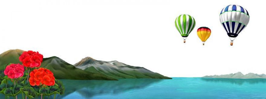Изображение для стеклянного кухонного фартука, скинали: цветы, горы, река, воздушный шар, skinsty11