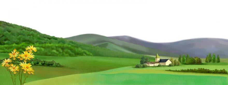 Изображение для стеклянного кухонного фартука, скинали: цветы, холм, дом, skinsty2