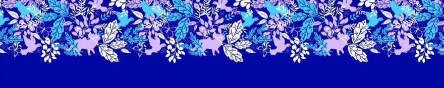Изображение для стеклянного кухонного фартука, скинали: листья, птицы, skinv23