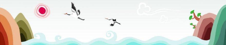 Изображение для стеклянного кухонного фартука, скинали: море, птицы, skinv35