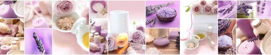 Изображение для стеклянного кухонного фартука, скинали: цветы, коллаж, спа, свечи, лаванда, spaimag003