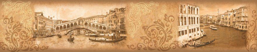 Изображение для стеклянного кухонного фартука, скинали: коллаж, город, архитектура, орнамент, винтаж, италия, vintazh003