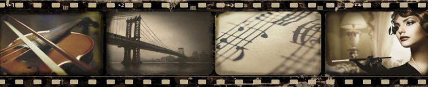 Изображение для стеклянного кухонного фартука, скинали: коллаж, мост, ноты, скрипка, винтаж, vintazh006