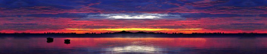 Изображение для стеклянного кухонного фартука, скинали: закат, облака, озеро, zakrass004
