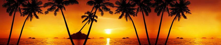 Изображение для стеклянного кухонного фартука, скинали: закат, море, пальмы, zakrass007