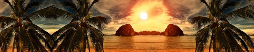 Изображение для стеклянного кухонного фартука, скинали: закат, море, пальмы, zakrass008