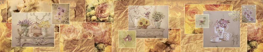 Изображение для стеклянного кухонного фартука, скинали: цветы, посуда, коллаж, fartux1005