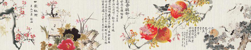 Изображение для стеклянного кухонного фартука, скинали: цветы, птицы, ветки, сакура, иероглифы, fartux1037