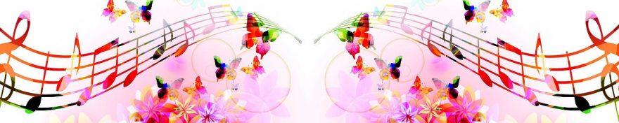 Изображение для стеклянного кухонного фартука, скинали: цветы, бабочки, ноты, fartux1047