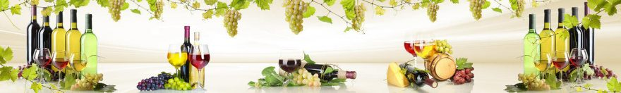 Изображение для стеклянного кухонного фартука, скинали: вино, виноград, бутылка, бокал, fartux1093