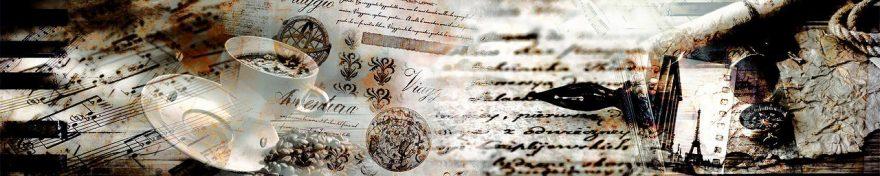 Изображение для стеклянного кухонного фартука, скинали: коллаж, кружка, ноты, письмо, винтаж, fartux1104