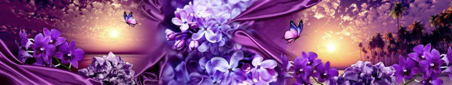 Изображение для стеклянного кухонного фартука, скинали: цветы, бабочки, сирень, fartux1124