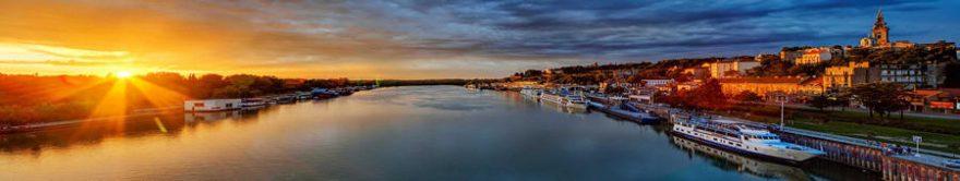 Изображение для стеклянного кухонного фартука, скинали: закат, город, река, fartux1159