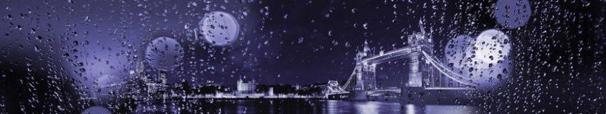 Изображение для стеклянного кухонного фартука, скинали: ночь, город, мост, капли, fartux1210